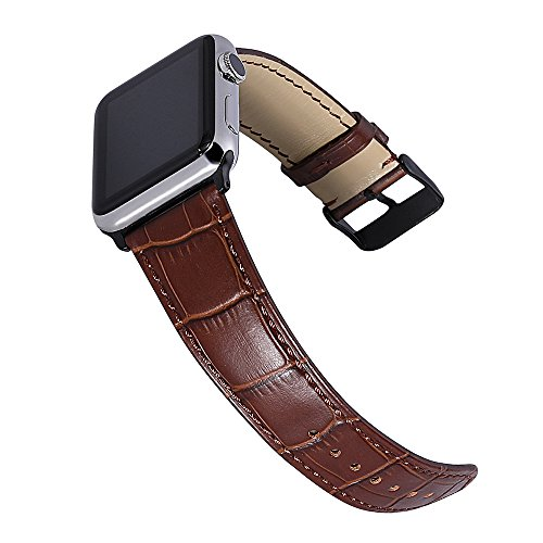igator Grain Genuine Calf Leather Strap 38MM 42MM for iWatch Series 2 Series 3 Sport and Edition Watchband Stainless Metal Clasp Brown (Genuine Alligator)