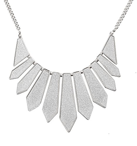 HSWE Women's Sequin Collar Necklace Short Bib Necklace Jewelry for Party Evening Wedding (Silver/Silver) (Silver Bib Necklace)