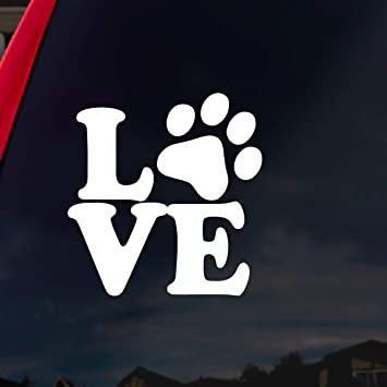 Amazon Com Socooldesign Love Paw Dog Cat Family Car Window Vinyl Decal Sticker 4 Wide White White Automotive