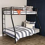Walker Edison Twin-Over-Full Metal Bunk Bed, Black