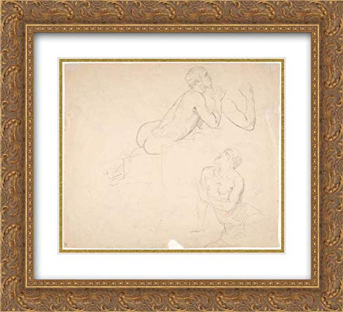 Eduard Julius Friedrich Bendemann - 32x28 Gold Ornate Frame and Double Matted Museum Art Print - Studies of a Boy Playing The Flute; Verso: Studies of Seated Man ()