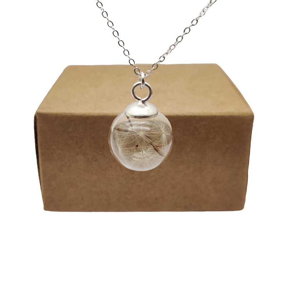 Dandelion Make a Wish Real Flower Glass Ball Pendant 925 Sterling Silver Chain Necklace
