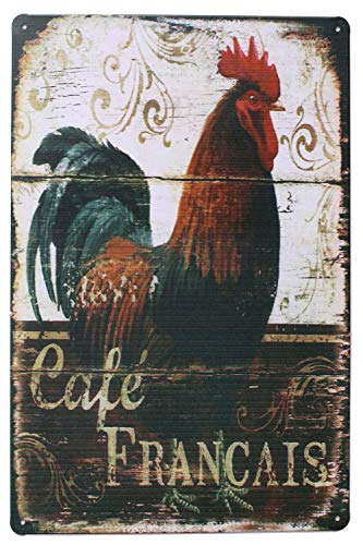Happy Chickens, Rooster Metal Sign Plate, Vintage Plaque Poster Kitchen Cafe Dining Room Home