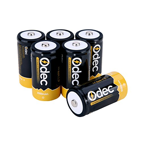 Odec C Battery, 5000mAh Ni-MH Rechargeable Battery for Toys, Musical Instruments and More (6-Pack)