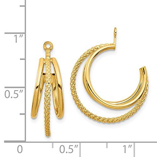 14k Yellow Gold Polished & Twisted Triple Hoop Earrings Jackets (0.8IN x 0.7IN)