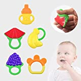 niceEshop(TM) Baby Infant & Toddler Teething Toys with Pacifier Clip ,BPA Free Natural Organic Freezer Safe Teether Set,5 Pack
