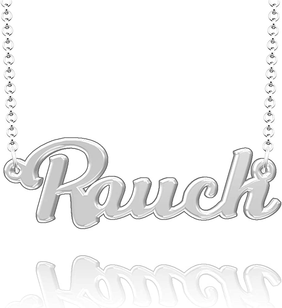 CLY Jewelry Personalized Last Name Necklace Custom Sterling Silver Rauch Plate Customized Gift for Family