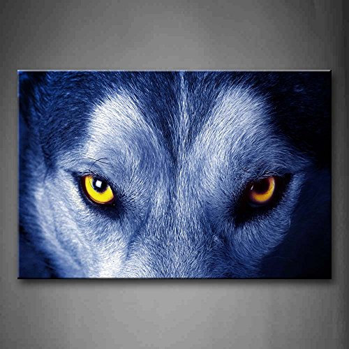 First Wall Art - Wolf Face Yellow Eye Wall Art Painting The Picture Print On Canvas Animal Pictures For Home Decor Decoration (Yellow Animal Eyes)