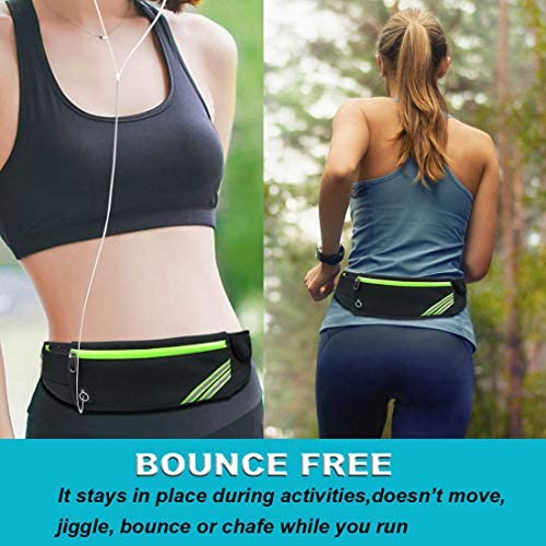 AIKENDO Running Pouch Belt Waist Pack Bag,Workout Fanny Pack,Bounce Free Jogging Pocket Belt–Travelling Money Cell Phone Holder for Running Accessories for iPhoneXS Max,iPhone 8 Plus