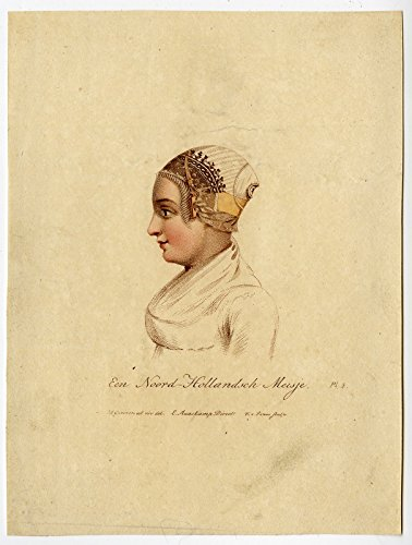 Holland Costumes Girl (Antique Print-GIRL-FOLK COSTUME-NOORD HOLLAND-Greeven-Van Senus-1816)