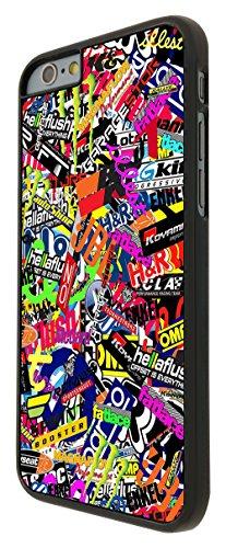 112 - StickerBomb Sticker Bomb Cars Cool Funky Design Design iphone 6 6S 4.7'' Coque Fashion Trend Case Coque Protection Cover plastique et métal - Noir