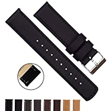 BARTON Quick Release Top Grain Leather Watch Strap - Choice of Colors & Widths (18mm, 20mm or 22mm) - Black 22mm Watch Band