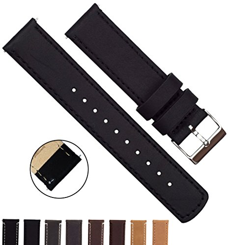 BARTON Quick Release Top Grain Leather Strap - Choose Color & Width (18mm, 20mm or 22mm) - Black 22mm Watch Band