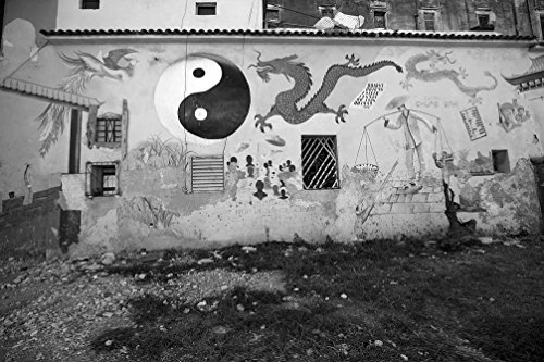 - 24 x 36 B&W Giclee Print Murals Painted on a Building on Dragones Street, in The Chinatown Section Havana, Cuba 2010 Highsmith 27a