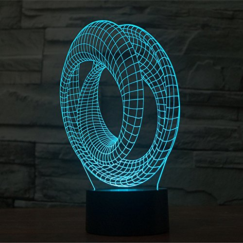 Abstract 3D Optical Illusion Lamp, Elstey 7 Color Changing Touch Table Desk LED Night Light USB Charger Great Gifts Home Decor (W Hotel Halloween Hong Kong)