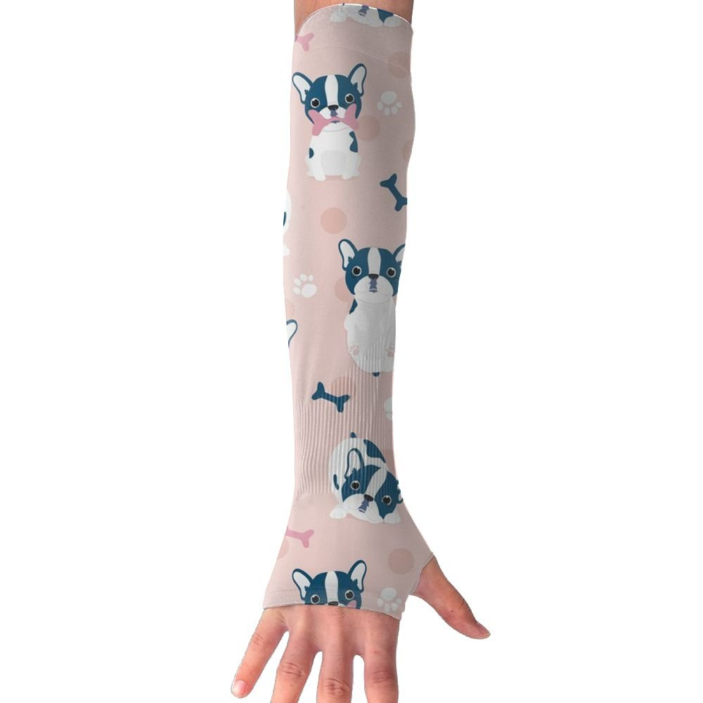 Pink French Bulldog UV Sun Protection Sleeves,Cooling Arm Sleeves For Men & Women Long Arm Sleeve Glove Fit Running,Golf,Cycling, Biking,Driving.