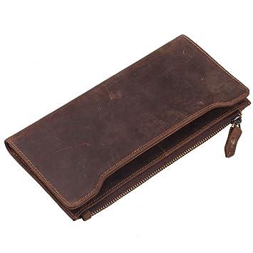 La Cartera de Los Hombres, Cuero Robusto Cartera Larga de Cuero Ccard Bag Phone Bag Estilo Retro: Amazon.es: Equipaje