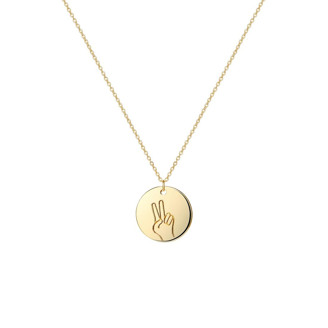 14K Gold Plated Dainty Funny Discs Finger Gestures Necklaces for Women Men Teen Citled Hand Gesture Pendant Necklace