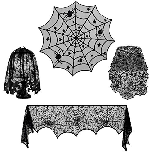 4 Pieces Halloween Decorations Sets Indoor,Outivity Halloween Lace Spider Web Table Runner,Round Lace Table Cover,Fireplace Mantle Scarf and Halloween Lamp Shades for Party Decoration