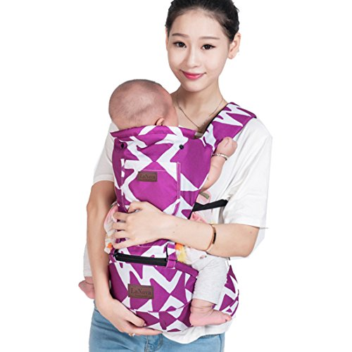 LaNova Baby Carrier with Hood Front and Back Adjustable Straps & Comfort Pads for Women and Men Cotton Fabric Perfect for Growing Kids Boys and Girls from 12-35 lbs 55″Maximum Adjustable Waist Purple For Sale