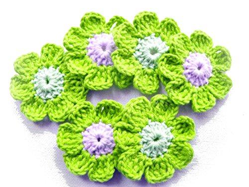 bimbabeautifulart Handmade Green and White Crochet Sweing Applique20 Pcs for Girls