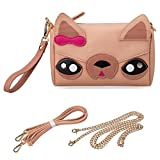 Image of BMC Faux PU Leather Small Cute Kawaii Boxy Animal Dog Puppy Face Zippered Crossbody Handbag Clutch Wristlet for Kids and Adults - Brown Chihuahua
