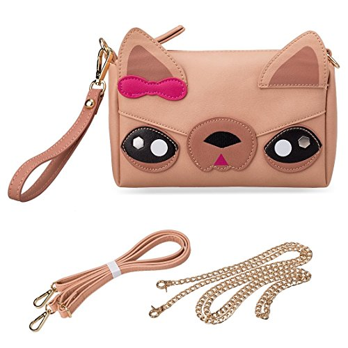 Designs Chihuahua Detachable Women Evening Clutch Straps Bag PU BMC and Girls Crossbody Cute Teens Leather Bear Handbag Faux Cat Animal for Various Dog Shoulder Face for Casual 3 Purse Wristlet 0wfTqz0C