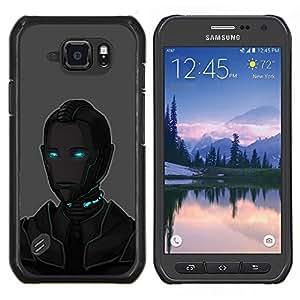 TECHCASE---Cubierta de la caja de protección para la piel dura ** Samsung Galaxy S6 Active G890A ** --Arte Ojos azules Robot Ai Tecnología Futuro