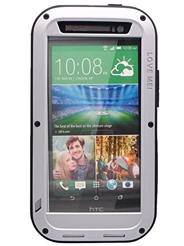 Love Mei HTC ONE M8 Weatherproof Hard Shell Aluminum Metal Case with Gorilla Glass Dustproof Shockproof Dirtproof Protective Case Ip65 Rated Waterproof Cover for HTC One 2 M8 - Silver