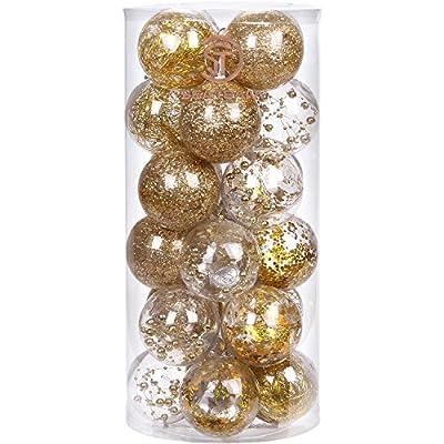 "Sea Team 70mm/2.76"" Shatterproof Clear Plastic Christmas Ball Ornaments Decorative Xmas Balls Baubles Set Stuffed Delicate Decorations"