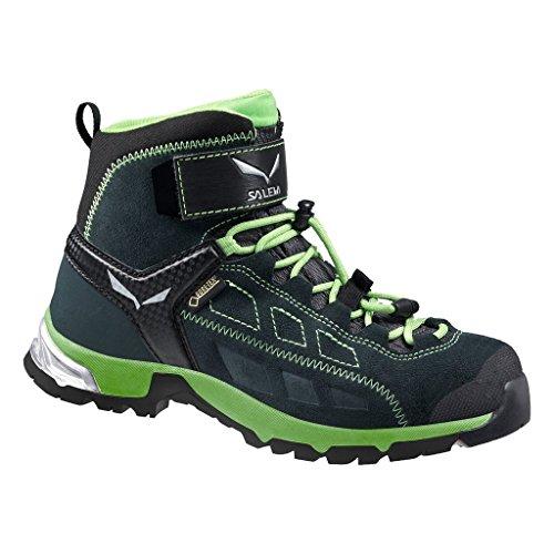 Salewa Unisex-Kinder Jr Alp Player Mid GTX Trekking-& Wanderstiefel Schwarz (0792 Carbon/Emerald)