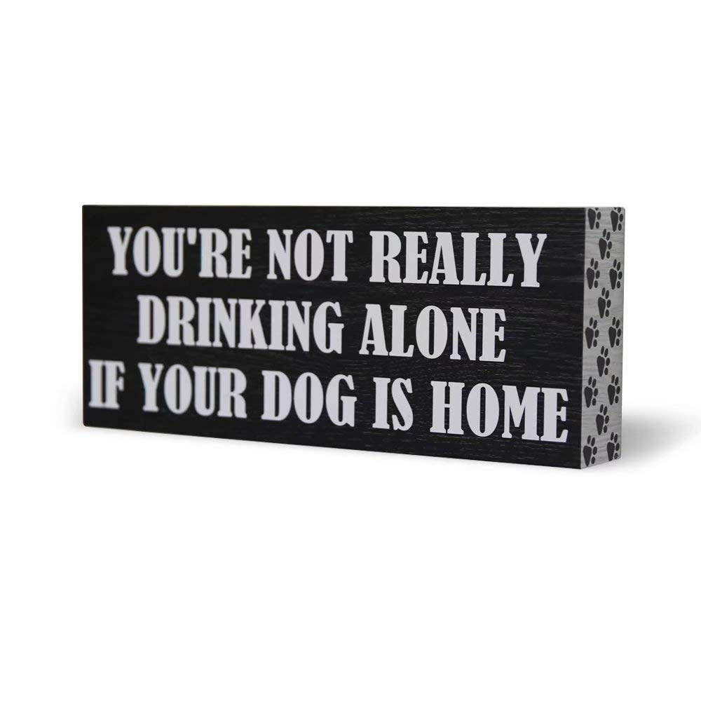 SANY DAYO Home You are Not Really Drinking Alone If Your Dog is Home 10 x 4 inches Funny Wood Box Sign with Vintage Pet Quotes for Home Office Décor
