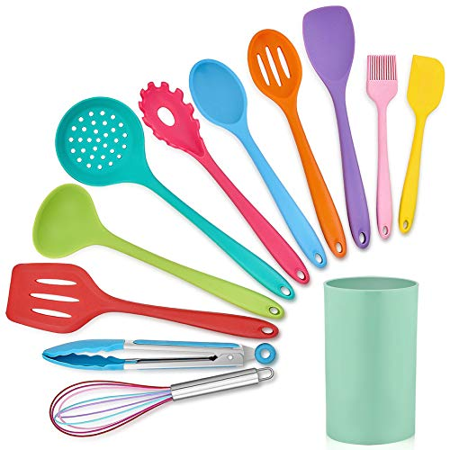 LIANYU 12-Piece Silicone Kitchen Cooking Utensils with Holder, Kitchen Tools Set Include Slotted Spatula Spoon Turner…