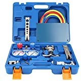 Refrigeration Tools Refrigeration Kit, 1/4''- 3/4'' Refrigeration Tool Kit Manifold Gauge Set with Pipe and Cutter, Diagnostic Tool Kit for Refrigeration with Box