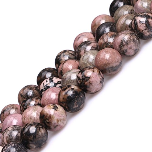 JOE FOREMAN 10mm Rhodonite Semi Precious Gemstone Round Loose Beads for Jewelry Making DIY Handmade Craft Supplies 15