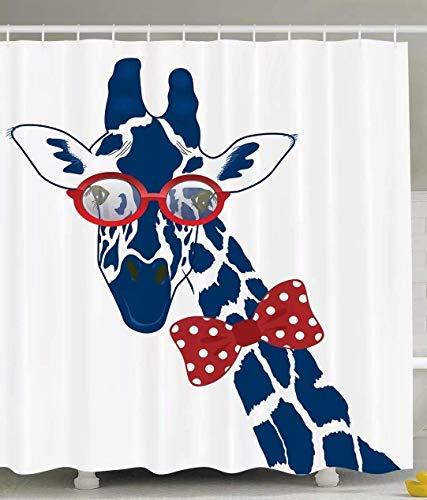 Flower Shower Blue Giraffe (Keke's Home Blue Giraffes Wear Glasses, Polyester Fabric Mildew Proof Waterproof Cloth Shower Room Decor Shower Curtains,60
