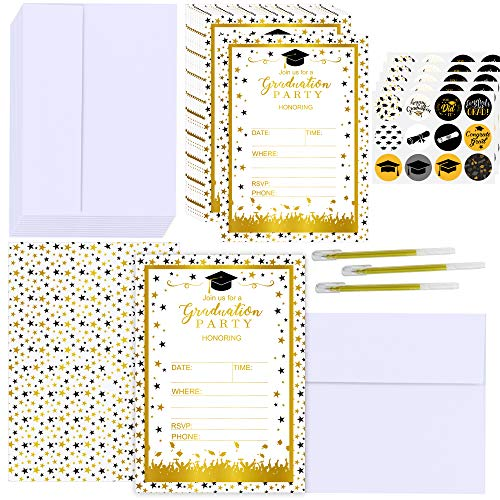 Supla 50 Set Graduation Invitation Cards Gold Foil Graduation Announcement Cards Grad Party Invitations with Envelopes Stickers Pens for High School College Graduation Party Favors