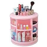 FLHSLY Desktop Cosmetic storage box Plastic Cosmetic Finishing shelf 360° Rotating Cosmetic case storage Artifact , pink