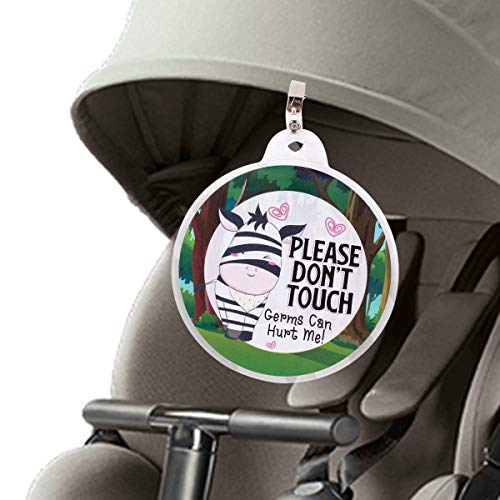 Baby Safety Sign No Touching Tag Newborn Baby Preemie Stroller Tag Baby Car Seat Tag Baby Shower Gift (Green Zebra)