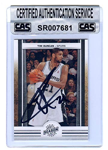 Tim Duncan San Antonio Spurs Signed Autographed 2009-10 Panini Season Update #69 Basketball Card CAS Certified