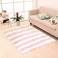 Nalahome Custom carpet n Striped Pattern in Pastel Colors with Gold Colored Dots Shabby Art Print Light Pink White Gold area rugs for Living Dining Room Bedroom Hallway Office Carpet (4 X 6)