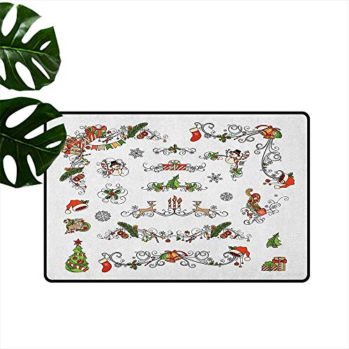 Kids Christmas,Floor Mats Classic Celebration Elements with Scroll Details Festive Holiday Preparation 18