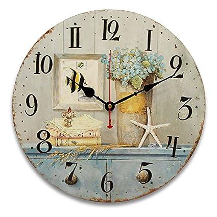 Bluelover 34Cm Vintage Relojes Antiguos Sabor Cocina Retro Estilo Shabby Chic Hogar Cafe Cuadros-#