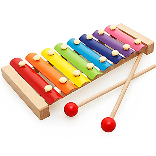 Xylophone Children's Music Initiation Toy Wooden 8 Colors & Tones Hand Knock with Mallets