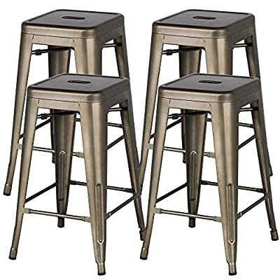 Yaheetech Metal Bar Stools 24'' Counter Height Barstools High Backless Stackable Metal Chairs Indoor/Outdoor,Gun Metal,Set of 4