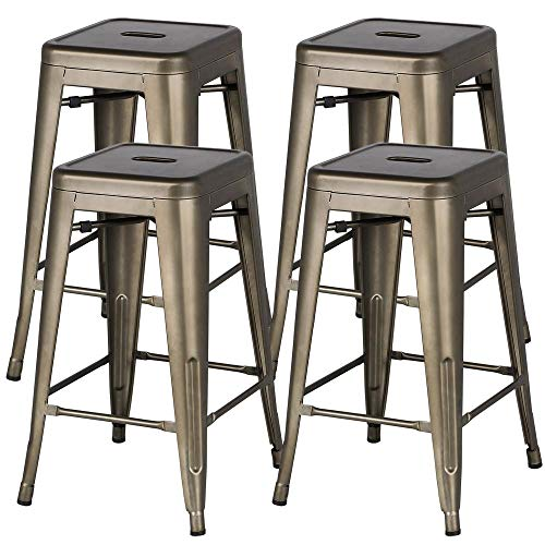 Yaheetech Metal Bar Stools 24'' Counter Height Barstools High Backless Stackable Metal Chairs Indoor/Outdoor,Gun Metal,Set of 4 (Height Sets Outdoor Counter)