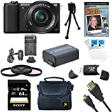 Sony a5100 ILCE5100L/B ILCE5100L ILCE5100 ILCE5100lb 16-50mm Interchangeable Lens Camera w/ 3-Inch Flip Up LCD (Black) Bundle w/ Sony 64GB Class 10 SD card, Spare Battery, Rapid AC/DC Charger, + More