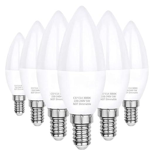 Pursnic E14 bombillas LED para velas 5W, 40W bombillas incandescentes equivalentes, C37, 3000K