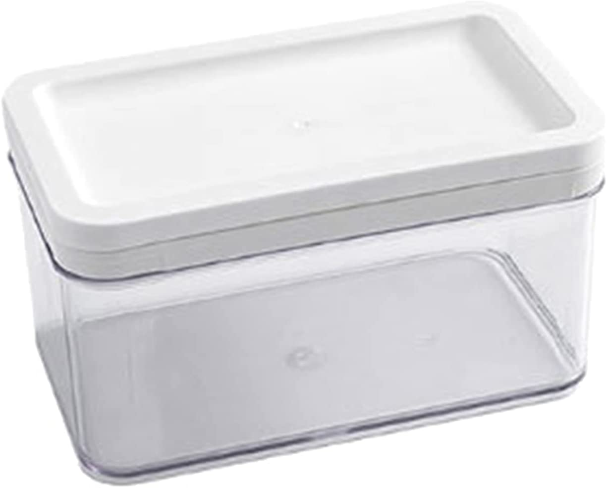 Cheese Storage Box, Butter Container Eco-friendly Rust-proof White Color Butter Storage Box with Wire Cutters for Home Refrigerator Two Grids