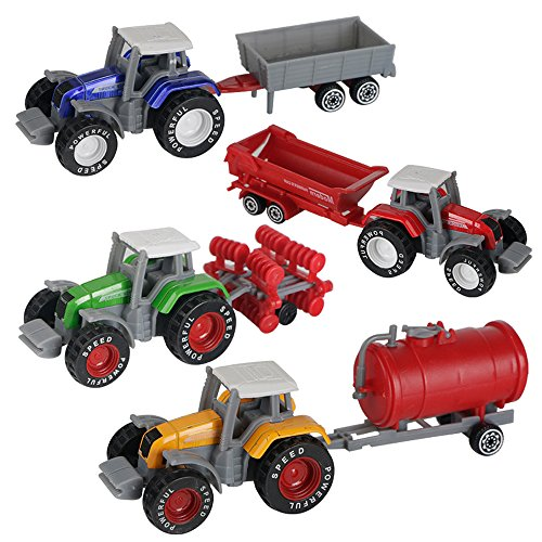 (AITING Metal Die Cast Farm Tractor Cars Toys Play Vehicle Set - Disc Plow, Water Tank, Wagon, Dump Trailer)